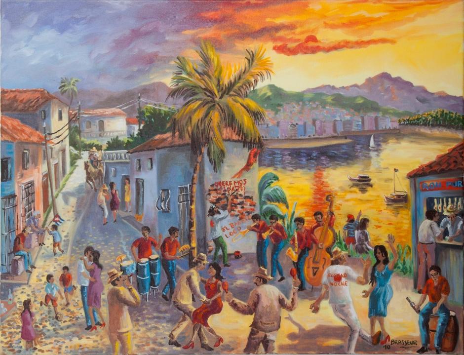 2010 65x55 Huile sur toile Inspiré d'un décors sur toile de 500x400 réalisé pour le festival Tempo Latino 400 €