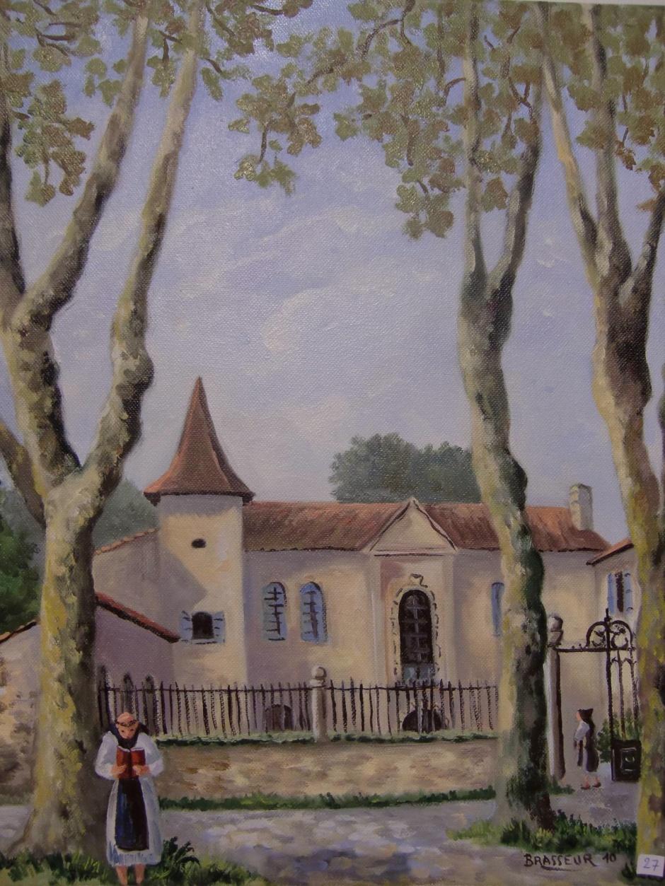 2010 41x33 Huile sur toile Abbaye cistercienne de Flaran (32) réalisé sur le motif 150€