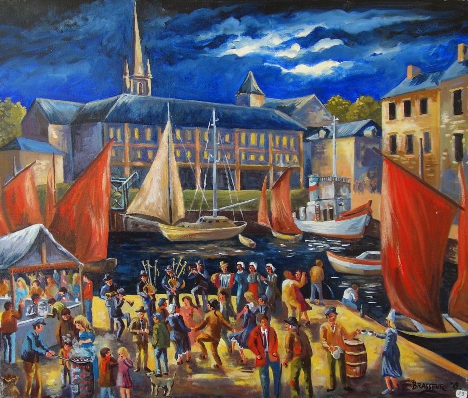 Huile sur toile - 2012 Réalisé d'après un décors pour la fête de la châtaigne à Redon. 46cmx55cm 300 euros