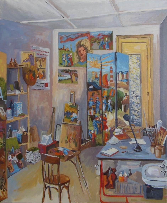 Huile sur toile - 2013 Tous les ateliers de l'artiste ont été réalisés, celui-ci est l'atelier actuel de La Gacilly. 46cmx55cm 300 euros