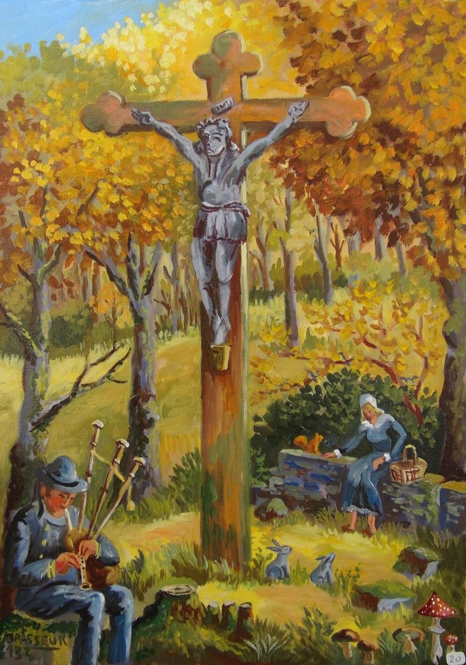 Huile sur toile - 2013 Un clin d'œil au Christ de Gauguin. 46cmx33cm 200 euros