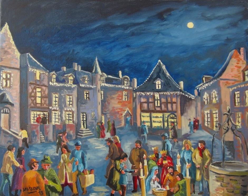 Huile sur toile - 2013 Suite à une visite de la cité de charme de Rochefort en Terre. 41cmx33cm 200 euros