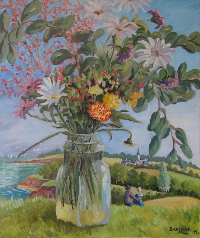 Huile sur toile - 2013 Première version du bouquet de fleurs 55cmx46cm