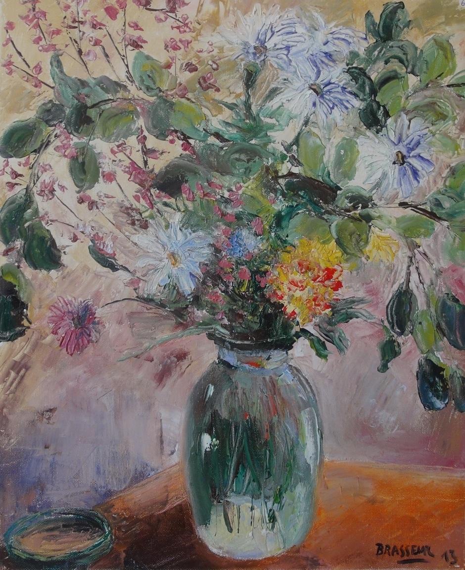 Huile sur Toile - 2013 Troisième version d'un bouquet de fleurs, réalisé exceptionnellement au couteau, suite à une visite à un ami peintre au couteau 38cmx46cm
