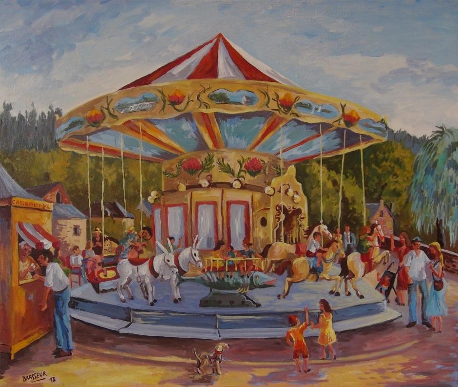 Huile sur toile - 2013 Carrousel installé à La Gacilly au cours de l'été 2013, première version réalisée à l'aquarelle 55cmx46cm