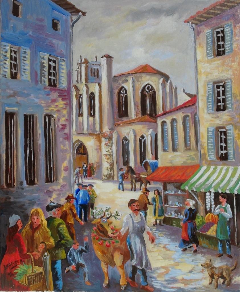 Huile sur toile - 2014 D'après des croquis réalisés pour le Conseil Général du Gers des souvenirs de Noël 38x46cm