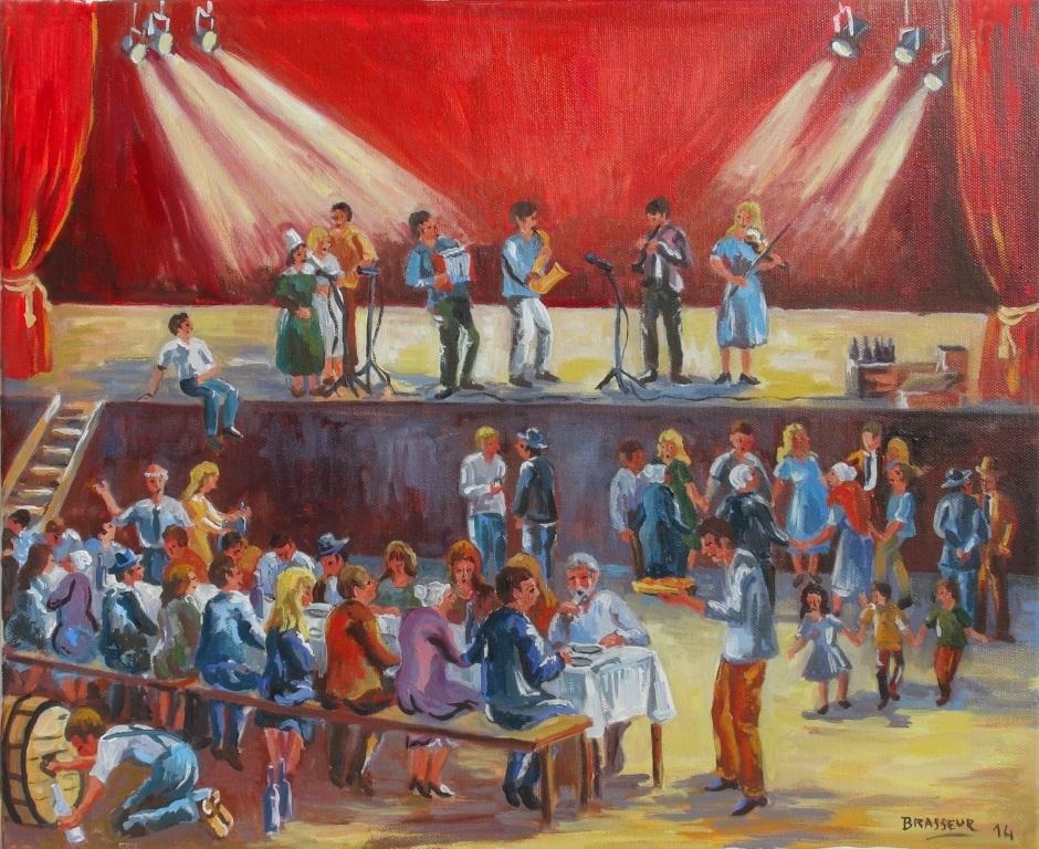 Huile sur Toile - 2014 Le repas des bénévoles de la Bogue d'Or de Redon 38x46cm