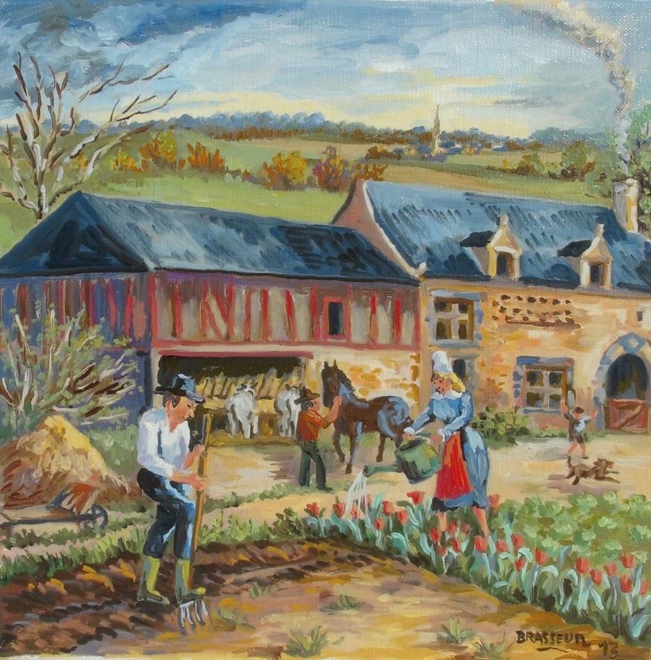 Huile sur toile - 2013 Série des 12 mois de l'année version bretonne 30x30cm