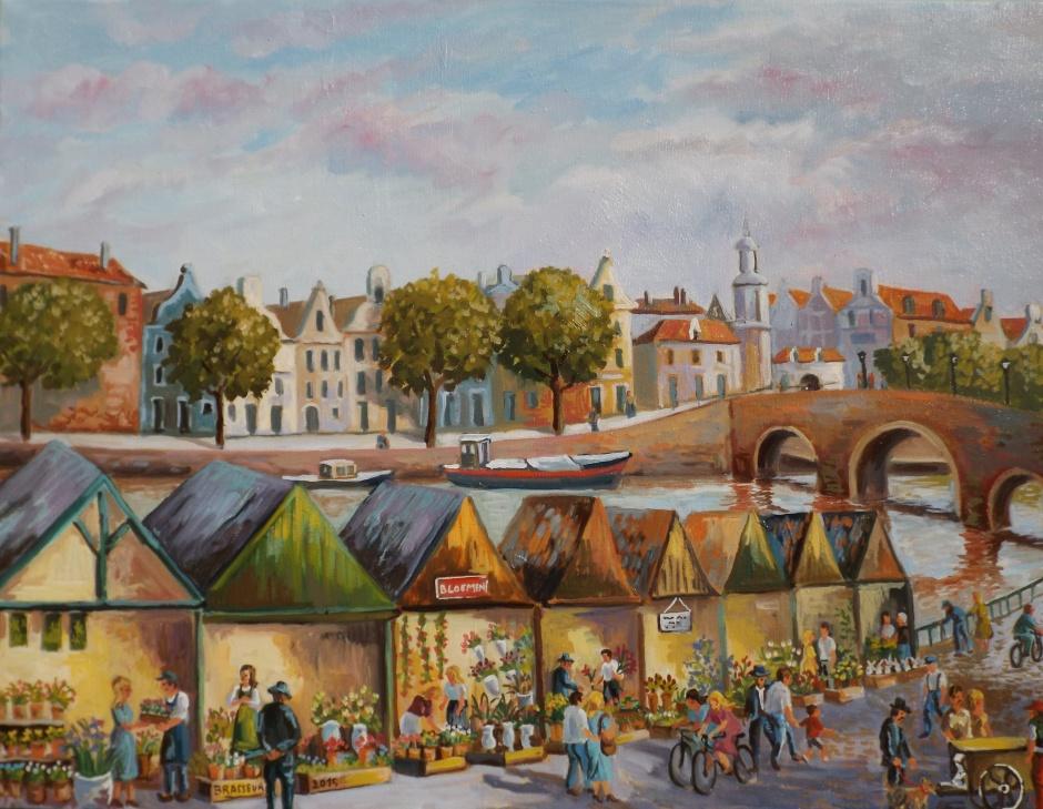 Huile sur toile - 2015 46x61 Réalisé suite à un voyage à Amsterdam en hiver - le marché aux fleurs