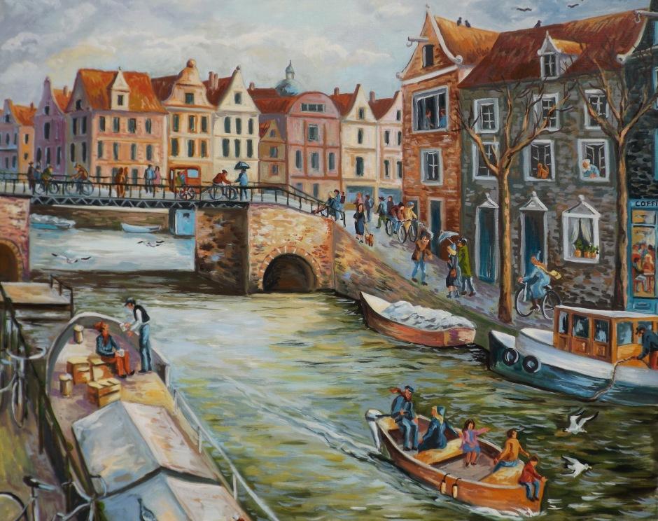 Huile sur toile - 2015 80x80 Réalisé suite à un voyage à Amsterdam en hiver